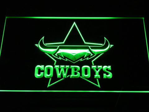 Image of North Queensland Cowboys LED Neon Sign - Green - SafeSpecial