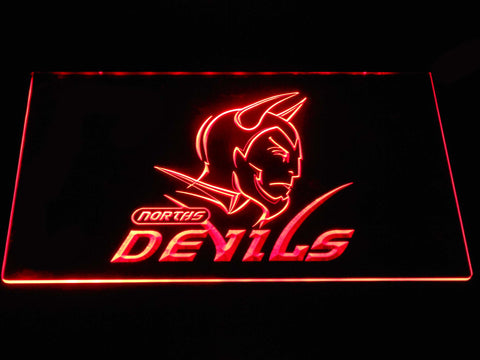 Norths Devils LED Neon Sign - Red - SafeSpecial