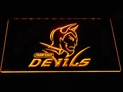 Norths Devils LED Neon Sign - Yellow - SafeSpecial