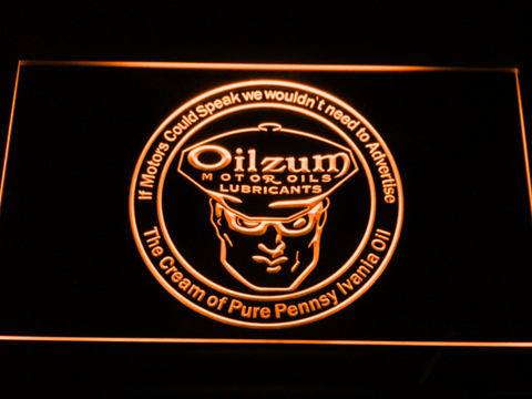 Image of Oilzum Motor Oil LED Neon Sign - Orange - SafeSpecial