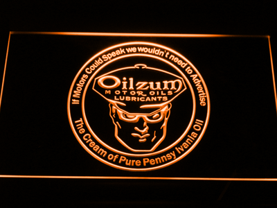 Oilzum Motor Oil LED Neon Sign - Orange - SafeSpecial