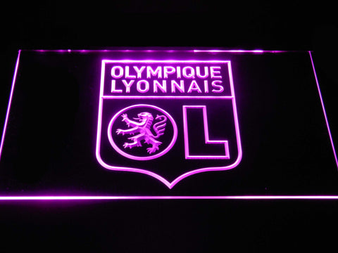 Image of Olympique Lyonnais LED Neon Sign - Purple - SafeSpecial