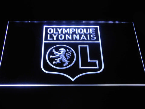 Image of Olympique Lyonnais LED Neon Sign - White - SafeSpecial
