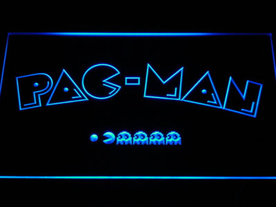 Pac-Man Logo LED Neon Sign - Blue - SafeSpecial