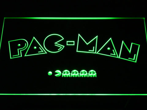 Image of Pac-Man Logo LED Neon Sign - Green - SafeSpecial