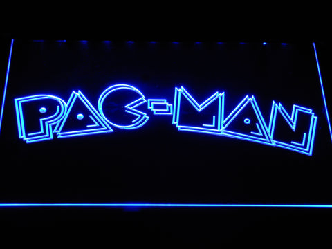 Image of Pac-Man Wordmark LED Neon Sign - Blue - SafeSpecial