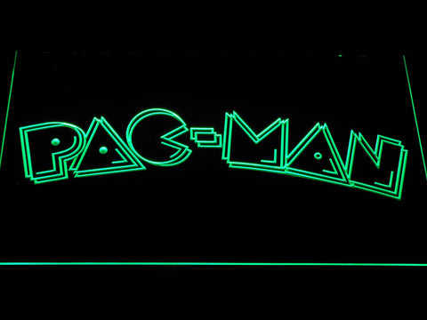 Image of Pac-Man Wordmark LED Neon Sign - Green - SafeSpecial