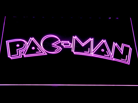 Image of Pac-Man Wordmark LED Neon Sign - Purple - SafeSpecial