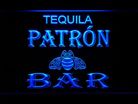 Patron Bar LED Neon Sign - Blue - SafeSpecial