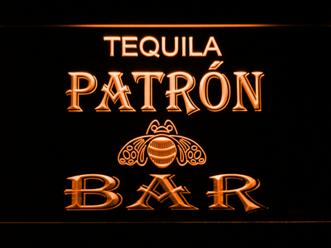 Patron Bar LED Neon Sign - Orange - SafeSpecial