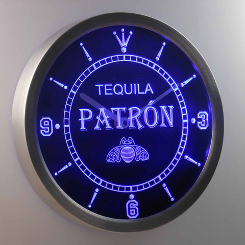 Image of Patron LED Neon Wall Clock - Blue - SafeSpecial
