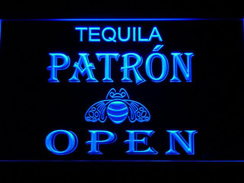 Image of Patron Open LED Neon Sign - Blue - SafeSpecial