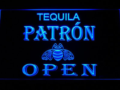 Patron Open LED Neon Sign - Blue - SafeSpecial
