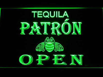 Patron Open LED Neon Sign - Green - SafeSpecial
