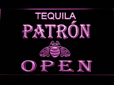 Patron Open LED Neon Sign - Purple - SafeSpecial