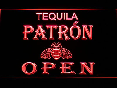 Patron Open LED Neon Sign - Red - SafeSpecial