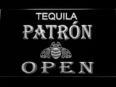 Patron Open LED Neon Sign - White - SafeSpecial