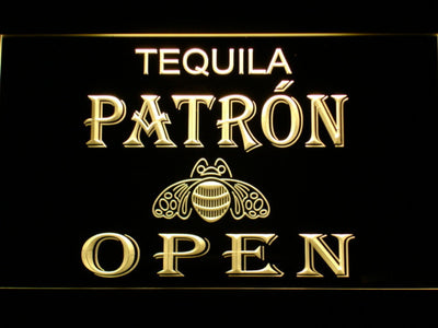 Patron Open LED Neon Sign - Yellow - SafeSpecial