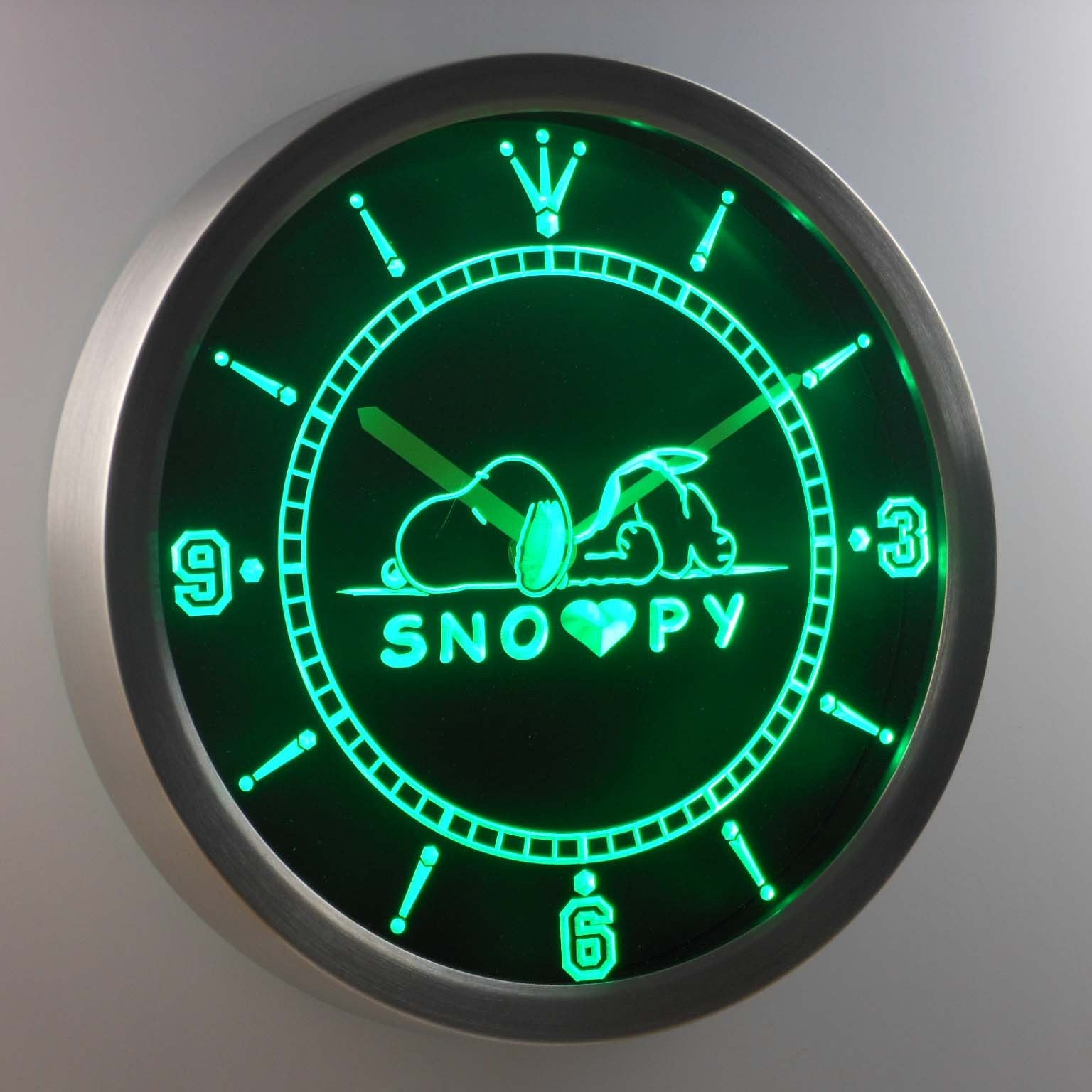 Peanuts Snoopy Heart Led Neon Wall Clock Safespecial