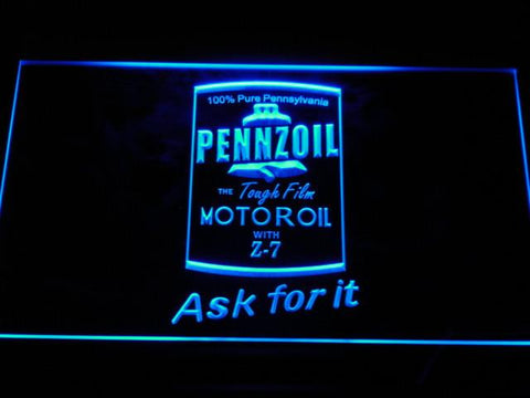 Image of Pennzoil Ask For It LED Neon Sign - Blue - SafeSpecial