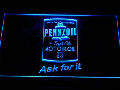 Pennzoil Ask For It LED Neon Sign - Blue - SafeSpecial