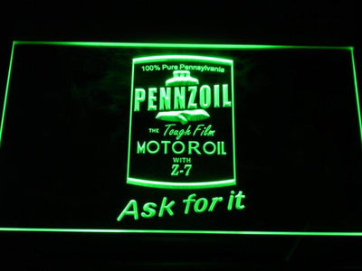 Pennzoil Ask For It LED Neon Sign - Green - SafeSpecial