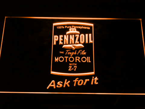 Image of Pennzoil Ask For It LED Neon Sign - Orange - SafeSpecial