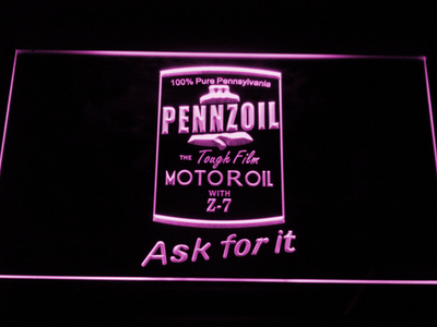 Pennzoil Ask For It LED Neon Sign - Purple - SafeSpecial