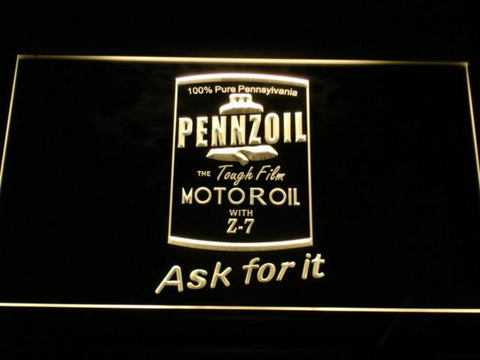Image of Pennzoil Ask For It LED Neon Sign - Yellow - SafeSpecial