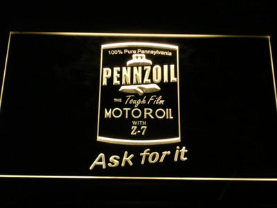 Pennzoil Ask For It LED Neon Sign - Yellow - SafeSpecial