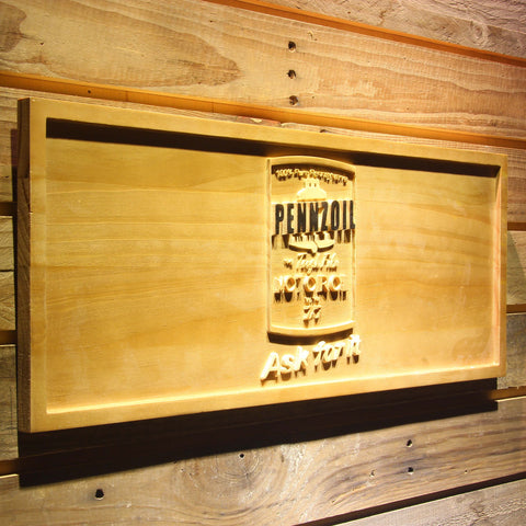 Image of Pennzoil Ask For It Wooden Sign - - SafeSpecial