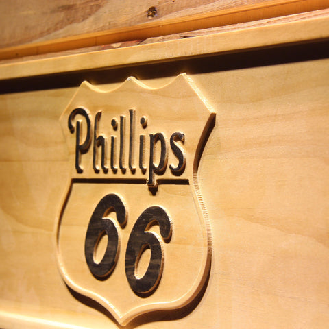 Image of Phillips 66 Gasoline Wooden Sign - - SafeSpecial