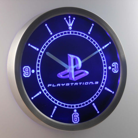 Image of PlayStation PS3 LED Neon Wall Clock - Blue - SafeSpecial