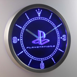 PlayStation PS3 LED Neon Wall Clock - Blue - SafeSpecial