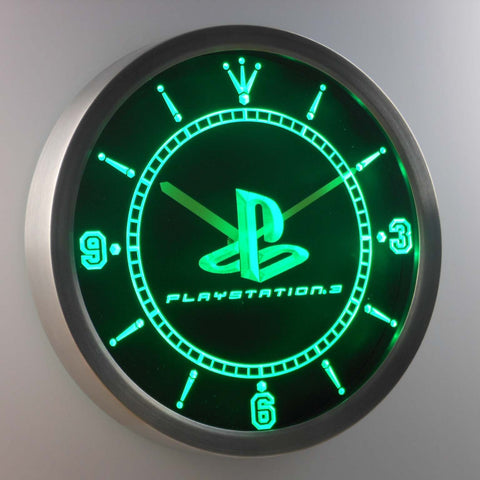 Image of PlayStation PS3 LED Neon Wall Clock - Green - SafeSpecial