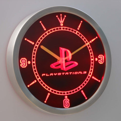 Image of PlayStation PS3 LED Neon Wall Clock - Red - SafeSpecial