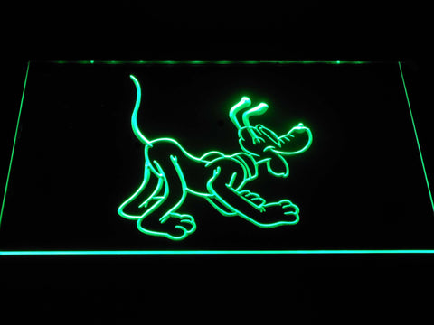 Pluto Back LED Neon Sign - Green - SafeSpecial