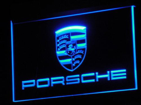 Porsche LED Neon Sign - Blue - SafeSpecial