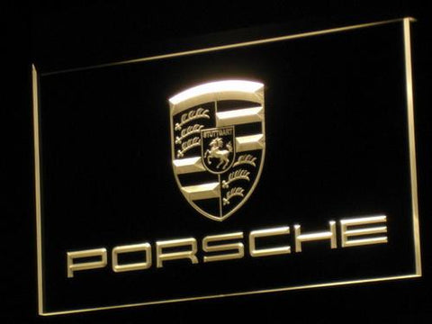 Porsche LED Neon Sign - Yellow - SafeSpecial
