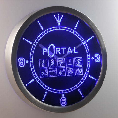 Image of Portal LED Neon Wall Clock - Blue - SafeSpecial