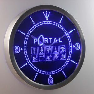 Portal LED Neon Wall Clock - Blue - SafeSpecial