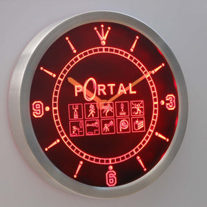 Portal LED Neon Wall Clock - Red - SafeSpecial