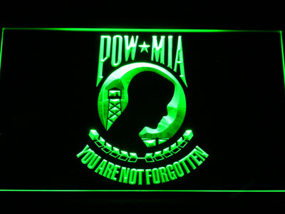 POW MIA LED Neon Sign - Green - SafeSpecial