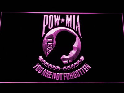 POW MIA LED Neon Sign - Purple - SafeSpecial