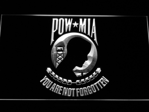 POW MIA LED Neon Sign - White - SafeSpecial