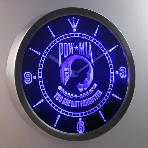 Image of POW MIA LED Neon Wall Clock - Blue - SafeSpecial