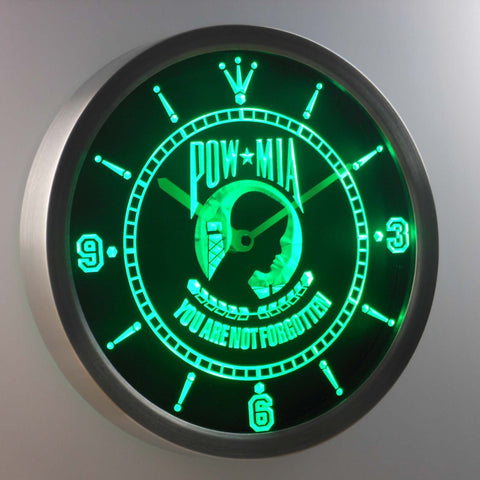 Image of POW MIA LED Neon Wall Clock - Green - SafeSpecial