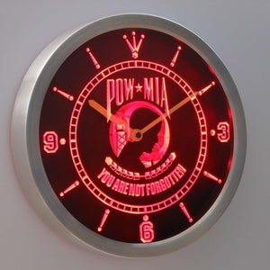 POW MIA LED Neon Wall Clock - Red - SafeSpecial