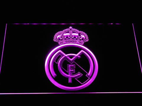 Image of Real Madrid CF Crest LED Neon Sign - Purple - SafeSpecial