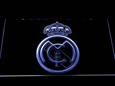 Real Madrid CF Crest LED Neon Sign - White - SafeSpecial